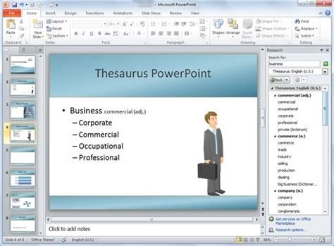 how to use a template in powerpoint how to use thesaurus in powerpoint