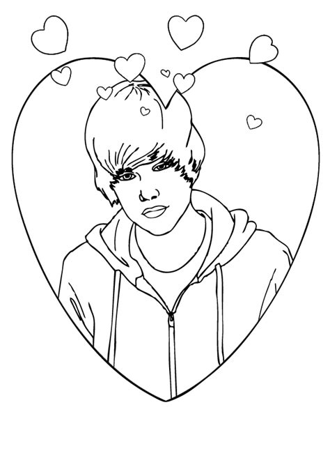 coloring page of justin bieber valentines day coloring point