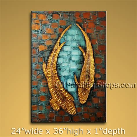 feng shui painting original modern oil painting contemporary wall art koi