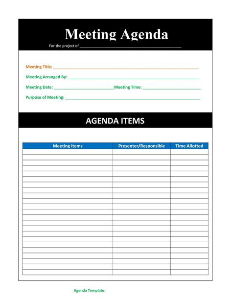 effective meeting agenda templates templatelab