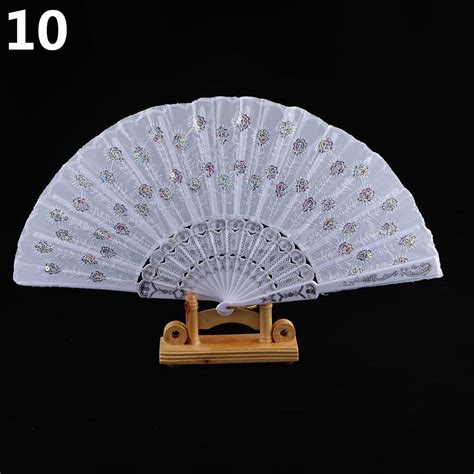 held fans for wedding folding held sequins embroidered craft fan for