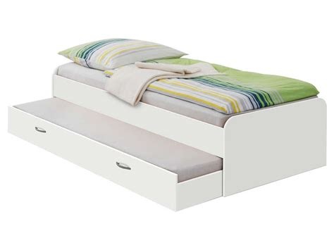 bett 70x190 lit gigogne 90x200 cm pedro coloris blanc vente de lit