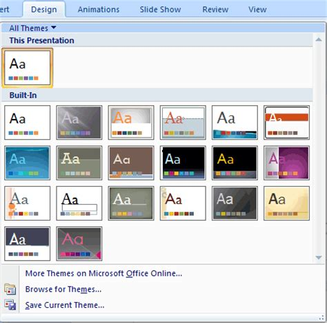 edit themes powerpoint 2007 change the default template or theme in powerpoint 2007