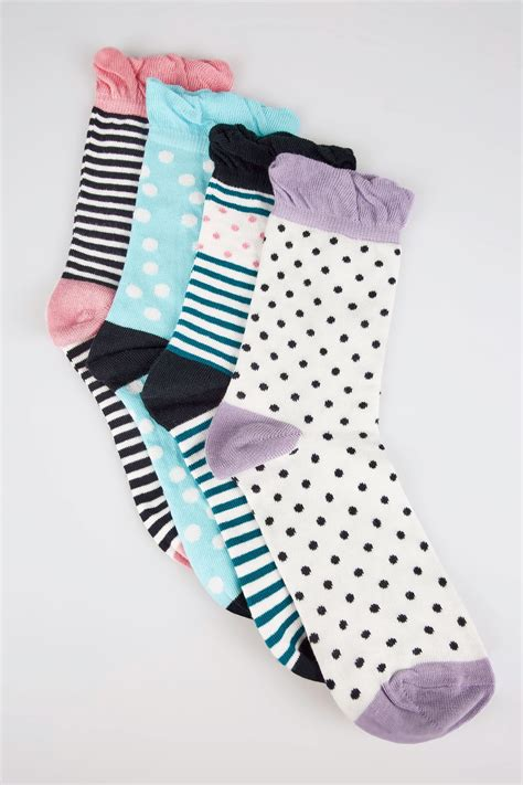 Mobile No Finder With Address 4 Pack Multicoloured Assorted Polka Dot Striped Socks