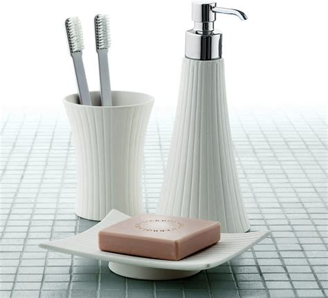 Bathroom Vanity Accessory Sets Madame White Porcelain Vanity Bathroom Accessory Set Contemporary Bathroom Accessory Sets