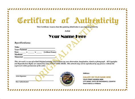 authenticity certificate template certificate of authenticity template certificate