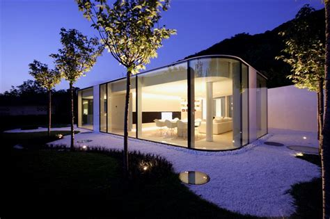 glass pavilion house lake lugano switzerland