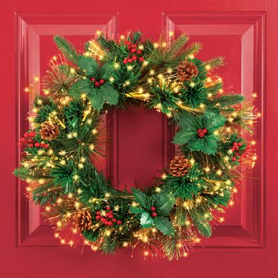 fiber optic christmas wreath fiber optic pine wreath with timer from collections etc