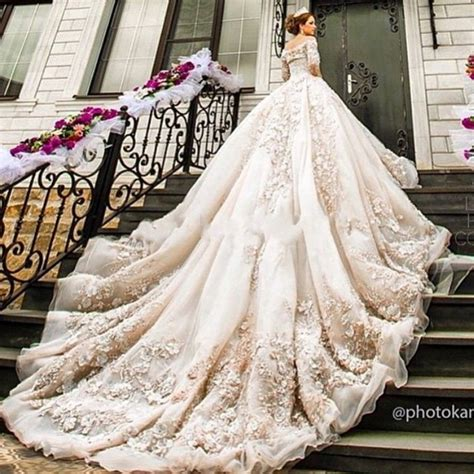 luxury cathedral royal train ball gown wedding dress 2016