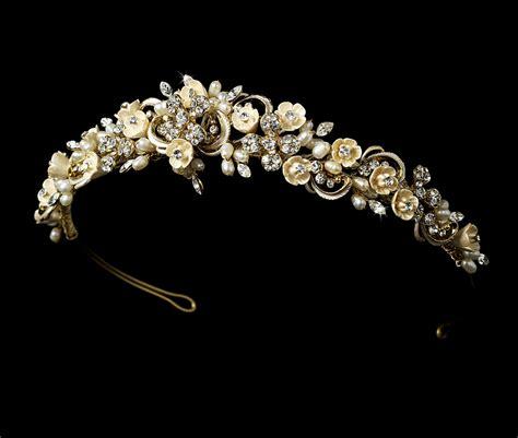 Rhinestone Flower Headpiece floral chagne pearl rhinestone headpiece