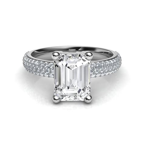 trio micro pav 233 emerald cut engagement ring