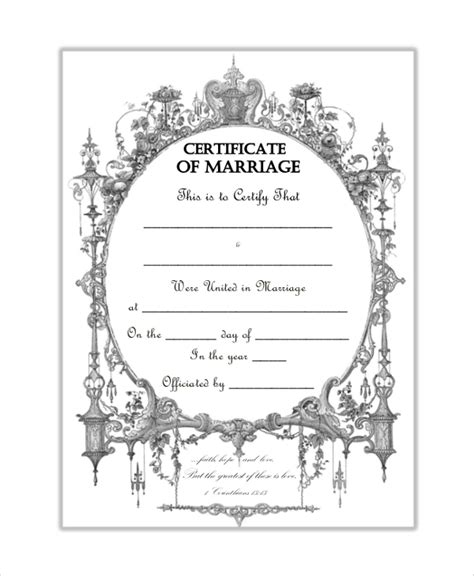 blank marriage certificate template sle blank certificate 8 documents in pdf word