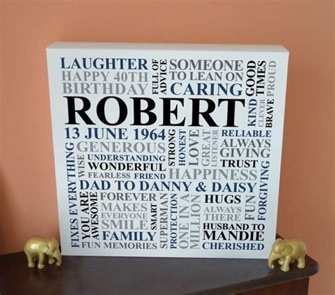 Personalised Men's Birthday Canvas. 21st, 30th, 40th, 50th
