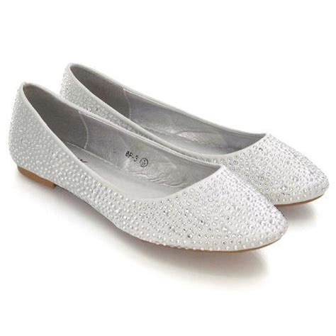 flat silver shoes silver flat wedding shoes ebay