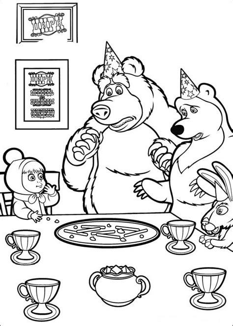 imagenes para pintar oso masha y el oso para imprimir y colorear 7
