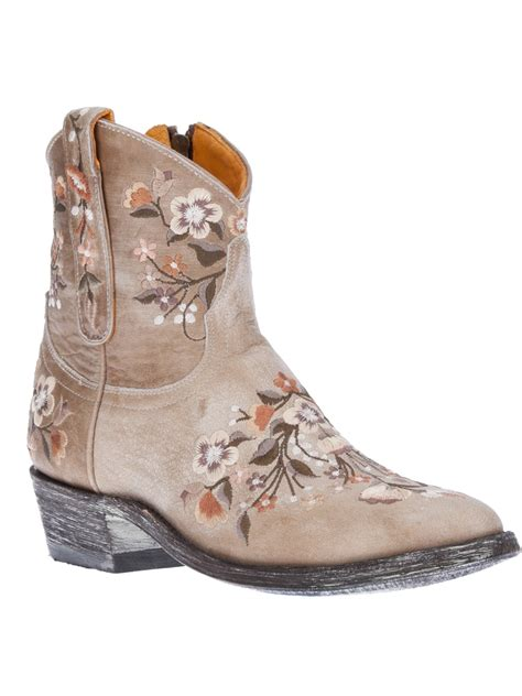 embroidered boots mexicana embroidered floral ankle boot in floral lyst