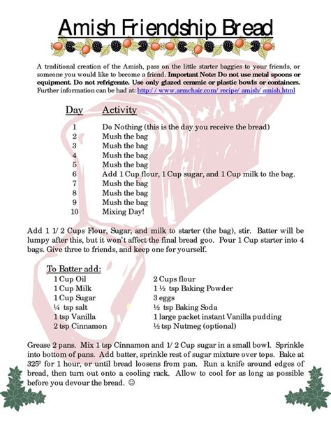 printable directions for amish friendship bread 25 best ideas about friendship cake on pinterest amish