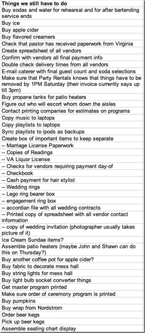 what our wedding to do lists looked like supernovabride
