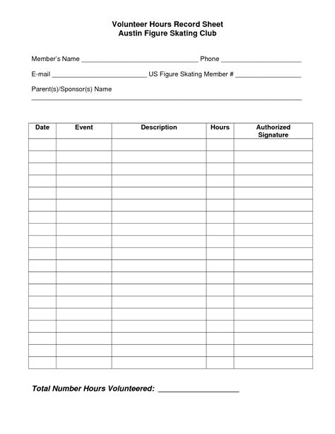 volunteer hours log sheet template beta club pinterest volunteers logs and d