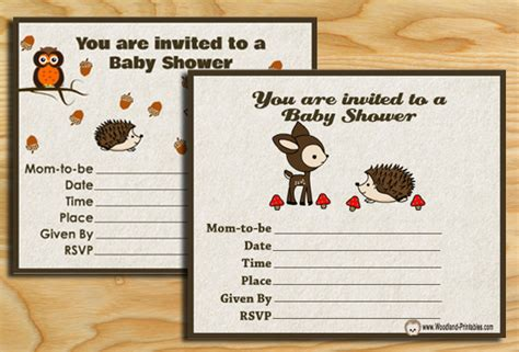 printable woodland baby shower party invitations