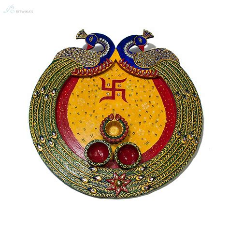 Handcrafted Design - peacock design handcrafted pooja thali plate