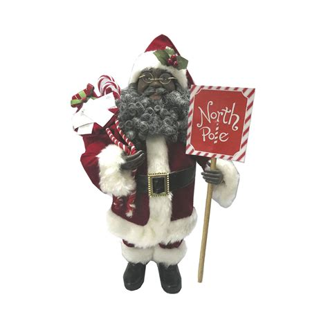 african american north pole santa claus figurine black