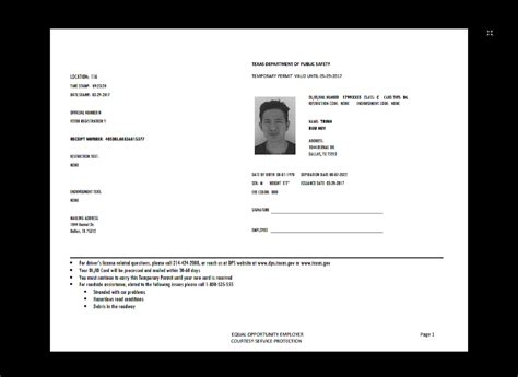 template temporary drivers license template driver s permit temp in 2019 documents