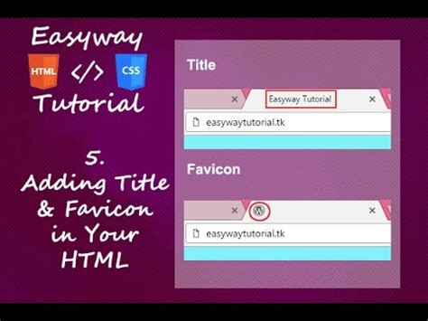 html tutorial youtube in hindi 5 html css tutorial adding title and favicon hindi