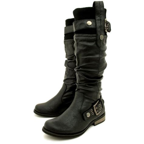 Womens Black Biker Leather Style Flat Wide Calf Boots