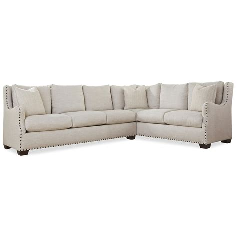 sprintz furniture sofas universal connor traditional sectional sofa with nail head