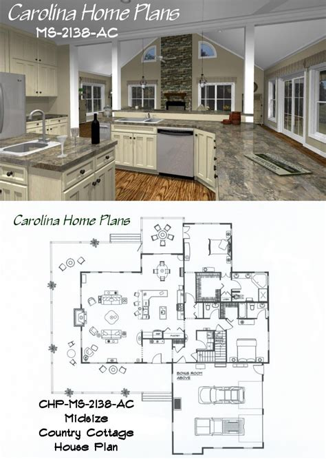 midsize country cottage house plan with open floor plan