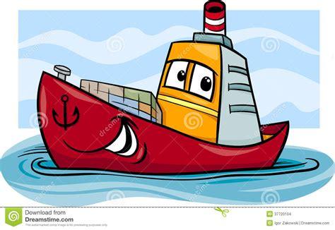 cartoon boat characters container ship cartoon illustration stock vector