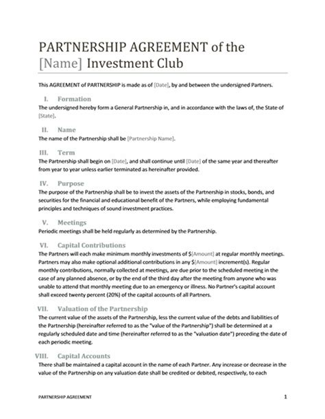 partnership agreement template partnership contract template format template