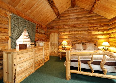 log cabin interiors for the most comfortable log cabin at cozy bedroom in log cabin house stock photo image of