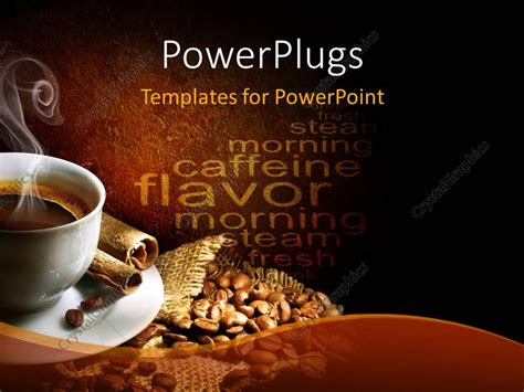 powerpoint template a cup of hot coffee with coffee beans