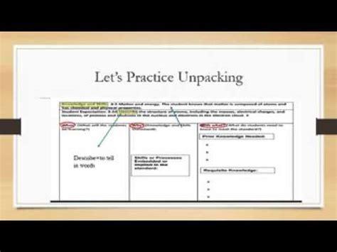 Unpacking Teksstemwmv Youtube Unpacking The Standards Template