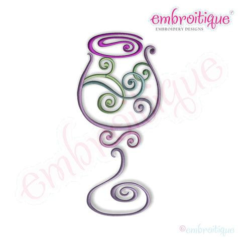 embroidery design wine glass embroitique curly wine glass 1 embroidery design
