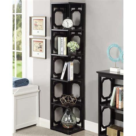 black corner bookcase 5 shelf corner bookcase in black 203280bl