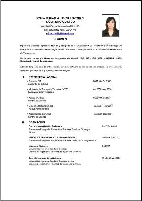 Modelo Curriculum Vitae Peru 2015 Modelo De Curriculum Vitae Ingeniero Modelo De Curriculum Vitae