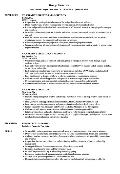 Creative Director Resume by Vp Creative Director Resume Sles Velvet