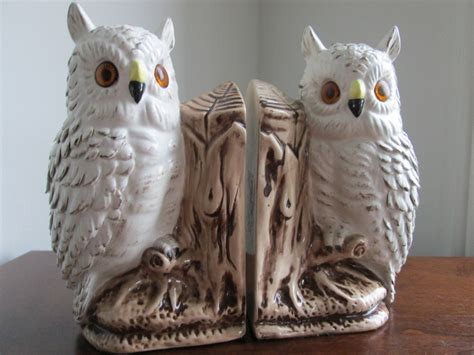 owl bookends owls bookends white owls ceramic bookends vintage owl bookends