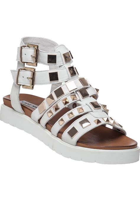 lyst steve madden bettee leather caged sandal in white