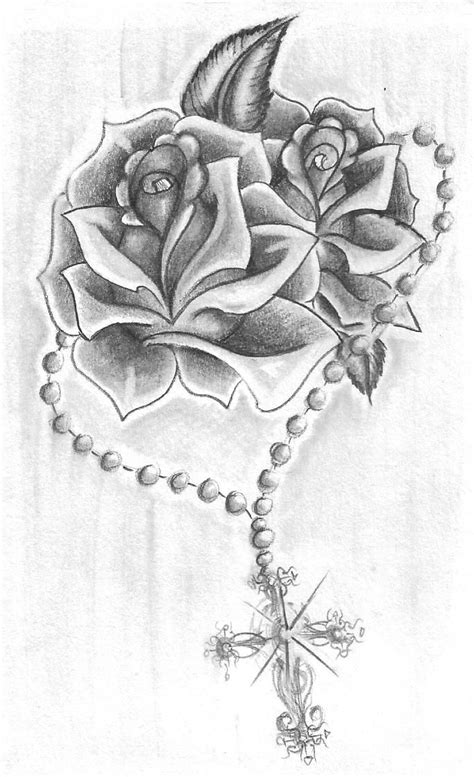 cross with rose tattoo designs rosary roses by alicornsandunigators deviantart on