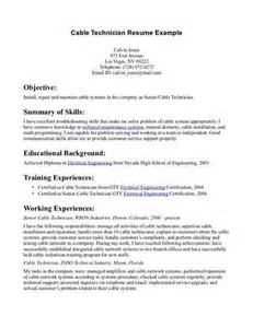 Cable Installer Sle Resume by Cable Technician Resume Exle