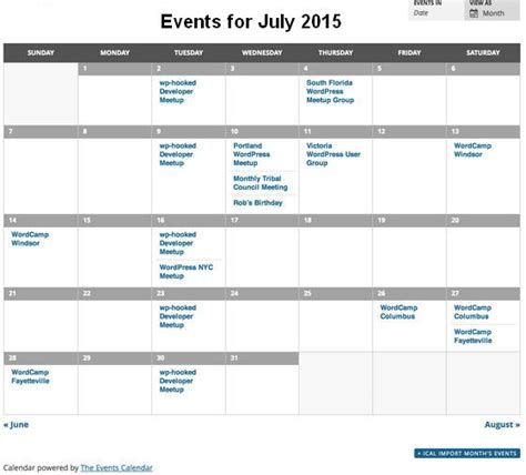event calendar wordpress plugins website