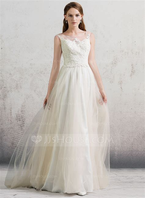 A Line/Princess Scoop Neck Sweep Train Tulle Wedding Dress