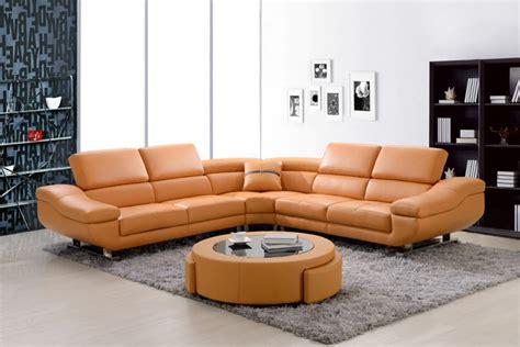 Modern Orange Leather Sectional Sofa Corner Couch Soft Soft Leather Corner Sofa