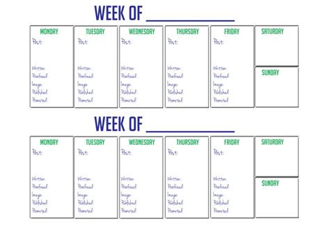 2 week calendar template images