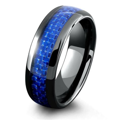 Wedding Bands Blue by Mens Black Ceramic Wedding Band With Blue Woven Carbon