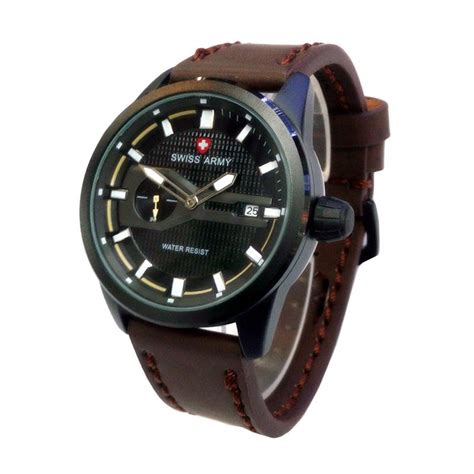 Jam Tangan Pria Swiss Army Date Smile Leather Brown Murah jual swiss army chrono detik d46h120sa3298mckt date